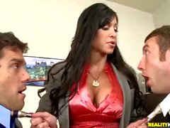 Bosomy MILF Jewels Jade gets double teamed