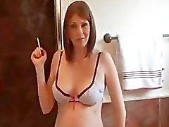 Preggo smokes in bathroom 2
