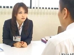 Asian HR babe blows her boss