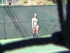 Dani Daniels Topless Tennis Fun - Scene 1