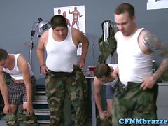 Cumlicking army milfs dominate new recruit