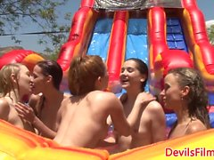 Les babe straponfucked in lesbian gangbang