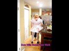 Sissy Maid Welcomes Home Domwife