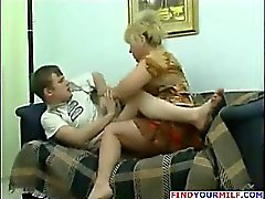 Horny mother with big tits seduce her son