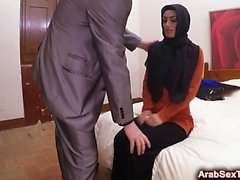 Cute desperate Arab girl gets her mouth and pussy