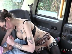 Pierced nipples busty babe bangs in fake taxi