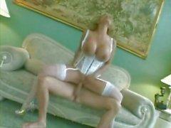 Juggsy MILF fucks in white lingerie