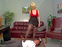 Elegant massive titted domina Siri in red and black