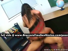 Independent brunette schoolgirl at school gets fucked hard