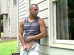 Gay hunk banging a peeping tom jock closeup