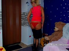 Very attractive blonde babe desires to tease in front of webcam naked and she starts playing with her favorite toy