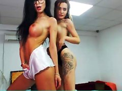 Big boobs blonde and brunette hotties sensual lesbian action