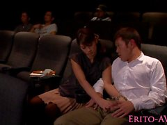 Japanese model gf blowing cock in cinema