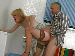 Older dude fucks a fresh fuckhole in the toilet
