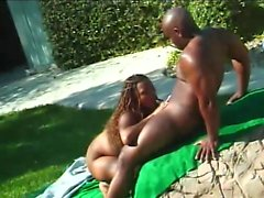 Hot babe is outside by the pool chewing on his rod and getting pumped