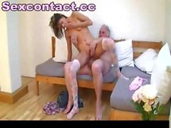 Old man fucks young hookup amateur babe
