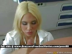 Young blonde doctor in her office