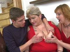 Lucky boy fucking three mature slut moms
