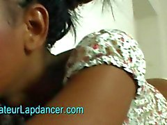amateur ebony lapdances and rides on dick