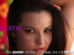Lovely young brunette Celeste Star is full of passion and desire