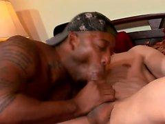Muscled schwarzem Bolzen hat einen weißen Jungen, der seinen reizenden Esel von hinten schlägt