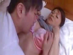 Japanese mom gets fingered, blows his rod, and gets nailed