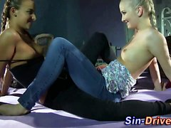 Lesbians in heels finger and lick