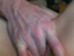 Blonde housewife with lovely boobs has sex with her lover on the bed