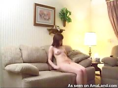 Naughty GF masturbates on the couch