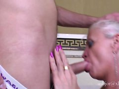 Lustful mature woman has a young man devouring and banging her peach