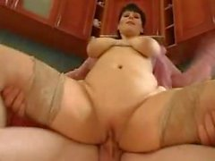Mommy Big Saggy Tits Fucked by Young Guy Stockings