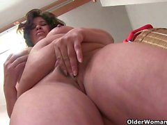 Lactating granny with big tits loves to masturbate