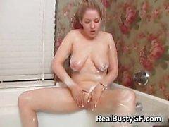 Chubby schoolgirl solo fun in bathtub part4
