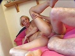 British slut Sandie Caine in a FMM threesome