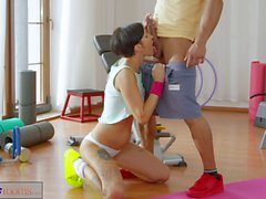 Fitness Rooms Big cock workout for brunette in after class sex