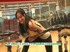 Luna busty lovely brunette girl flashing boobs at the gym