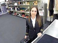 Fucking a Latina Stewardess at the Pawn Shop