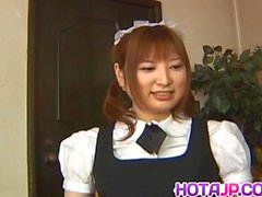 Runna Sakai naughty Asian waitress gets legs spread for puss