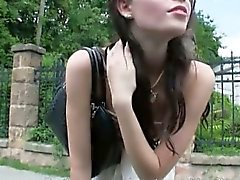 Lovely stranded teen Elisabeth fucked and facialed in public