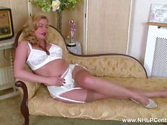 Blonde Milf Holly Kiss strips off retro white lingerie fucks juicy pussy with dildo in sheer nylons