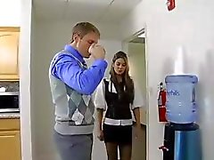 Secretary gets him in the bathroom to suck and fuck her coworker