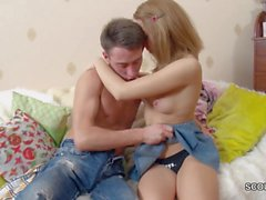 Step-Bro Seduce Skinny Blonde Sister to Fuck and Facial