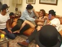 Hot french girl on gangbang party