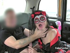 Costumed babe doing anal in taxi