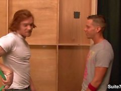 Naughty tattooed gay James Jamesson gives blowjob and gets anally fucked