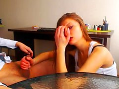 Handjob from amateur brunette teen GF 3