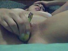 Latina morena quente banana fode que são amadores