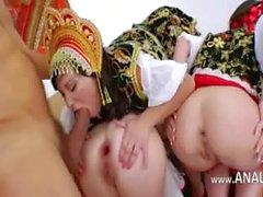 Three russian butt lesbians dildoing