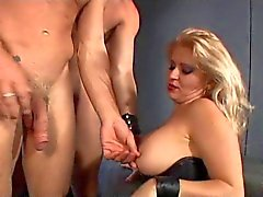 Thick mistress having fun with 2 bi slaves