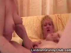Naughty chubby grannies fuck each others cunts with toys
